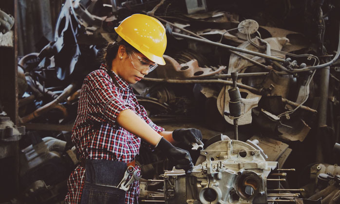 Industrial worker hard at work