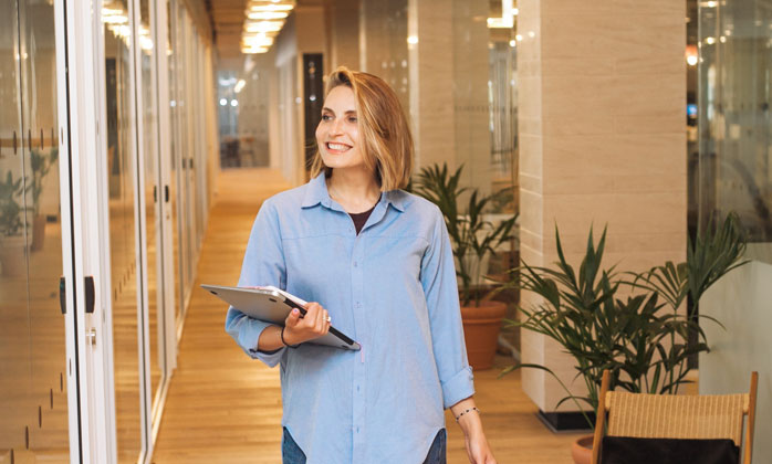 Woman smiling in her workplace